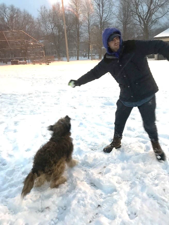 Leon and Jack playing in snow