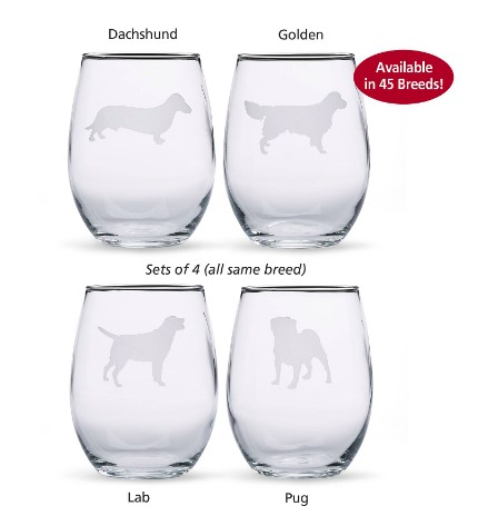 Dog wine glasses for a Valentine's day gift