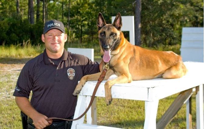 Trainer and K9 dog