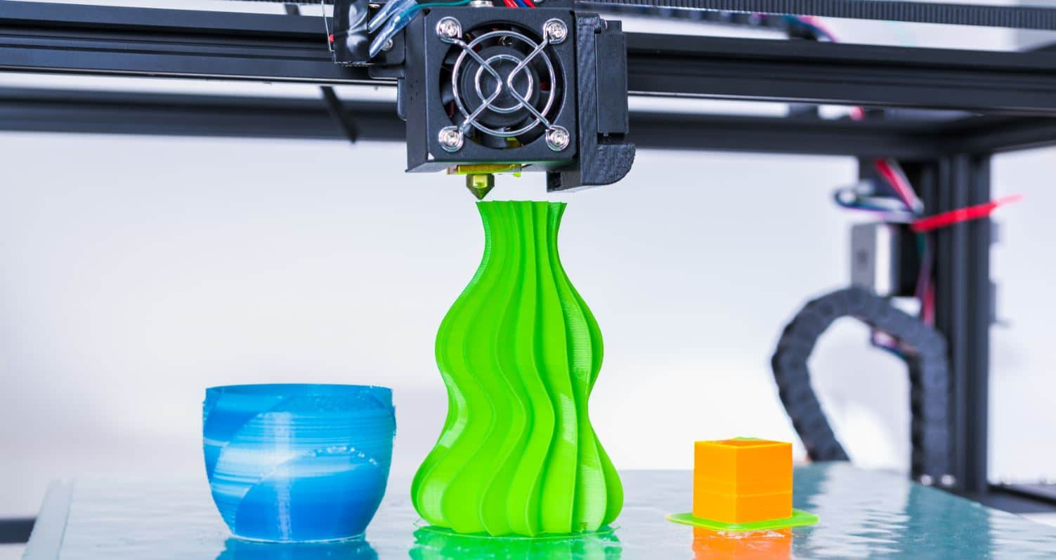 Colorful objects created with 3D printing machine