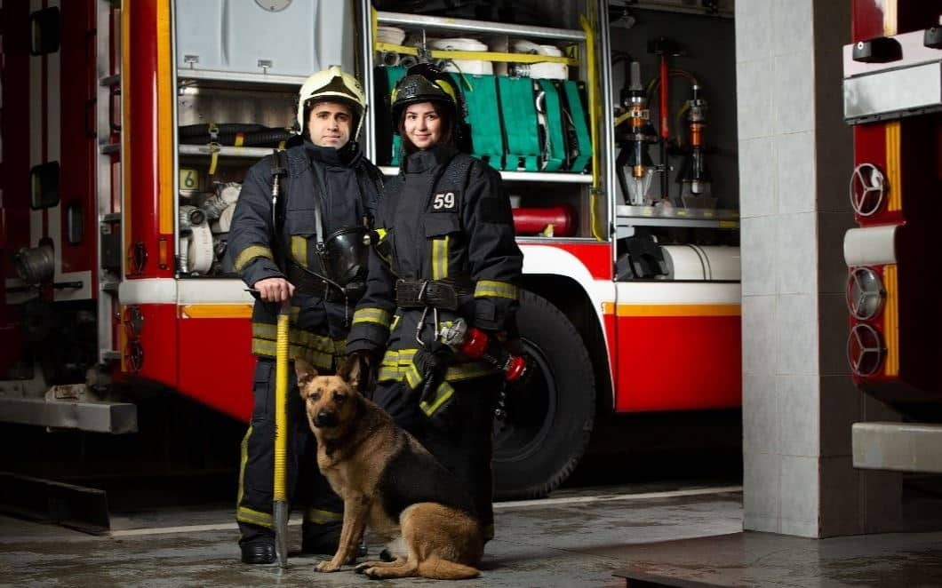 Firefighters dog in front of fire truck