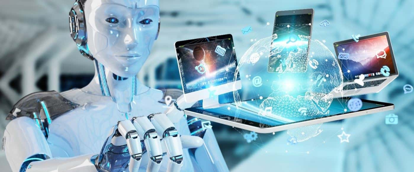 Human robot points digital devices