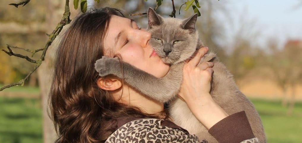 Cat parent kisses her cat